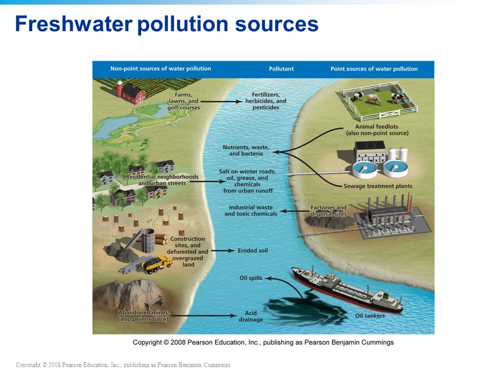 Copyright © 2008 Pearson Education, Inc., publishing as Pearson Benjamin Cummings Freshwater pollution sources