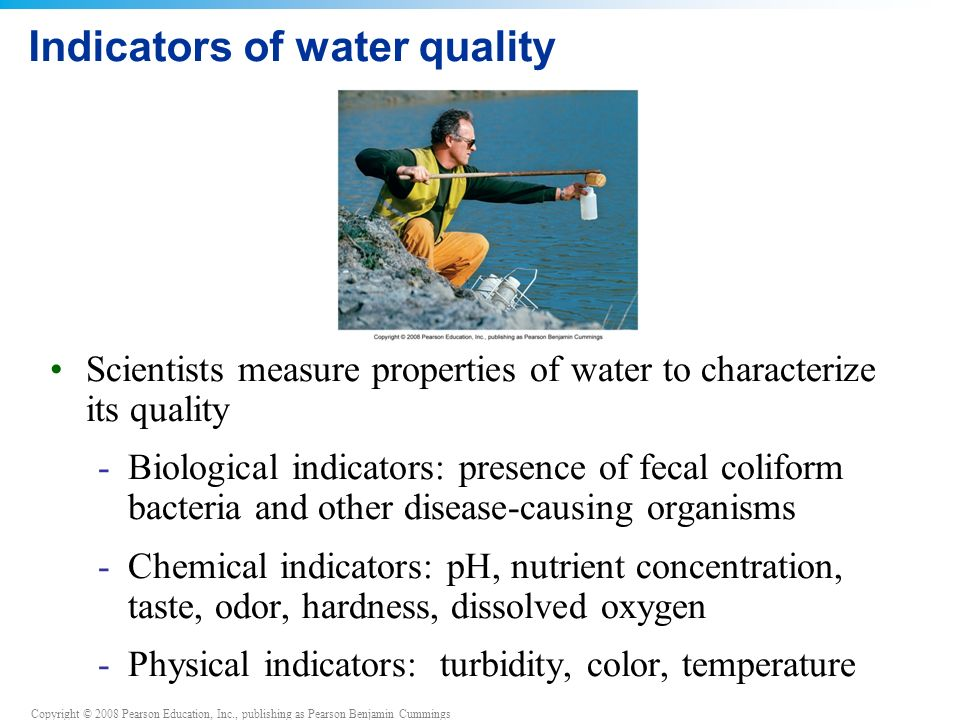 Copyright © 2008 Pearson Education, Inc., publishing as Pearson Benjamin Cummings Indicators of water quality Scientists measure properties of water to characterize its quality -Biological indicators: presence of fecal coliform bacteria and other disease-causing organisms -Chemical indicators: pH, nutrient concentration, taste, odor, hardness, dissolved oxygen -Physical indicators: turbidity, color, temperature