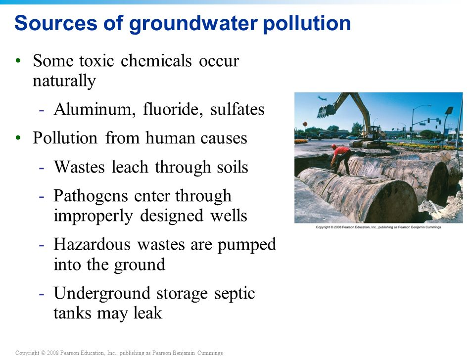 Copyright © 2008 Pearson Education, Inc., publishing as Pearson Benjamin Cummings Sources of groundwater pollution Some toxic chemicals occur naturally -Aluminum, fluoride, sulfates Pollution from human causes -Wastes leach through soils -Pathogens enter through improperly designed wells -Hazardous wastes are pumped into the ground -Underground storage septic tanks may leak