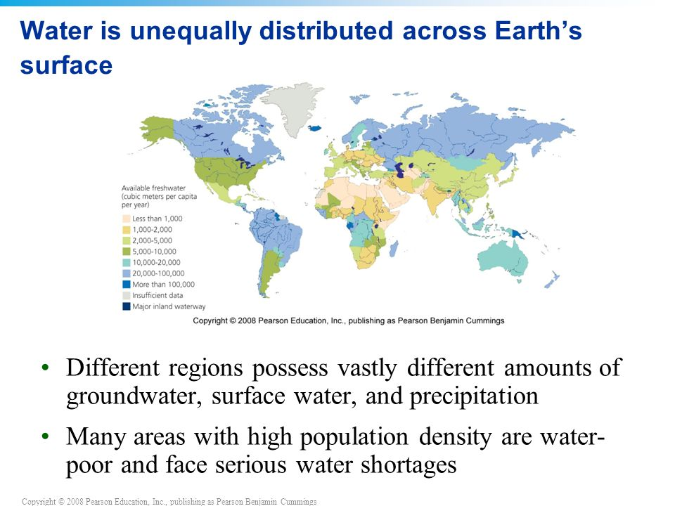 Copyright © 2008 Pearson Education, Inc., publishing as Pearson Benjamin Cummings Water is unequally distributed across Earth's surface Different regions possess vastly different amounts of groundwater, surface water, and precipitation Many areas with high population density are water- poor and face serious water shortages