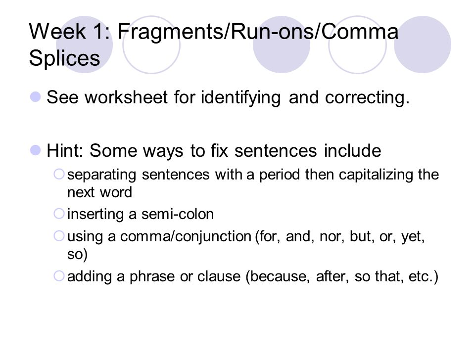 Sentences Run Ons And Fragments