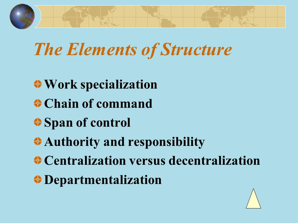 Work Specialization Definition: Work specialization is a component of organization structure that involves having each discrete step of a job done by a different individual rather than having one individual do the whole job.