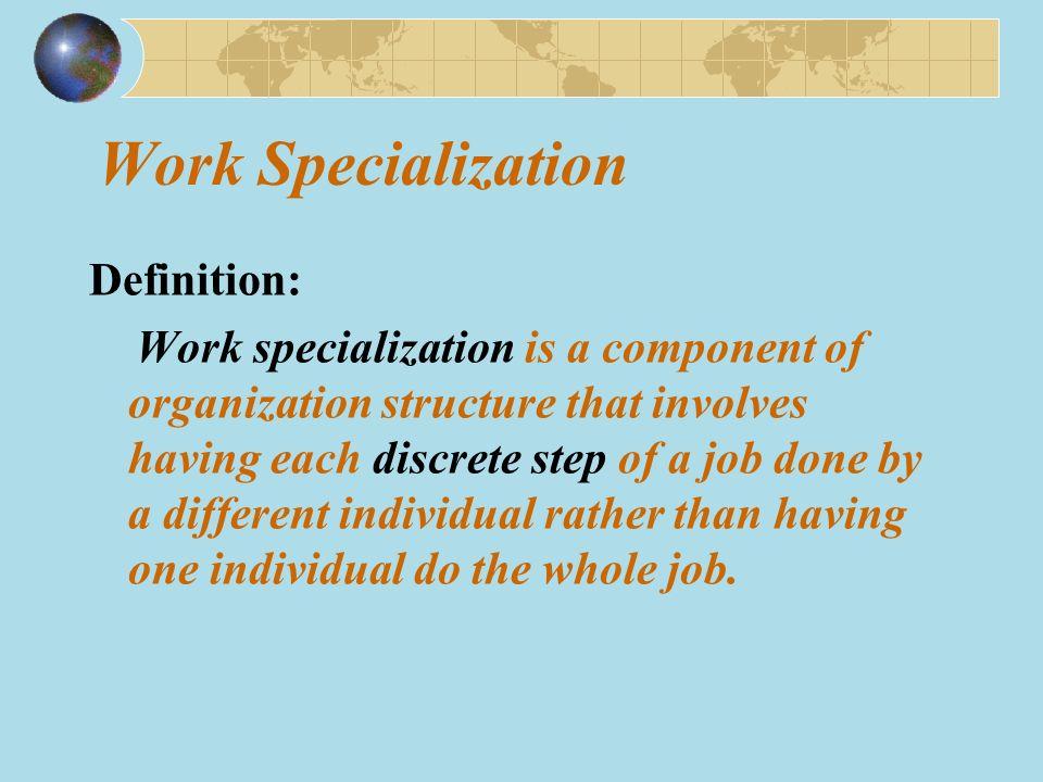 Exhibit 6-1 Economies and Diseconomies of Work Specialization High LowHigh Low Work Specialization Productivity Impact from economies of specialization Impact from human diseconomies