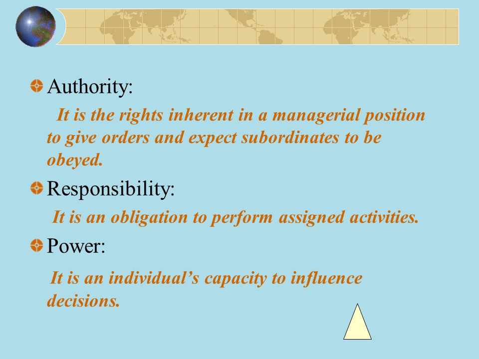 Authority: It is the rights inherent in a managerial position to give orders and expect subordinates to be obeyed.