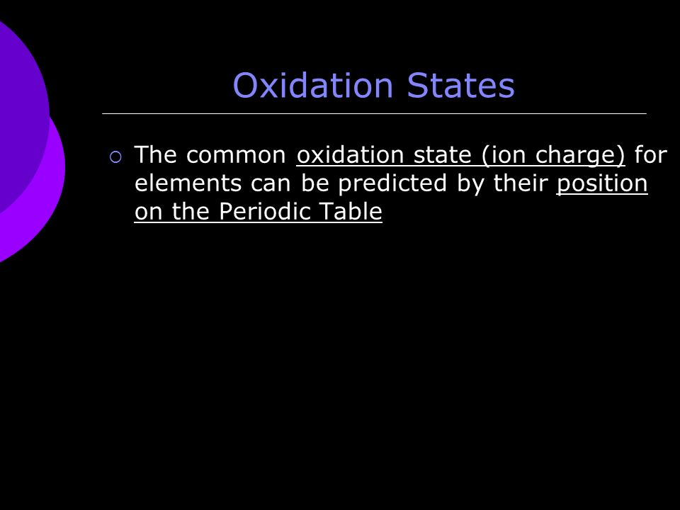 Ions continued unit 3 topic 2 charges because elements in the 6 oxidation states the common oxidation state ion charge for elements can be predicted by their position on the periodic table urtaz Gallery