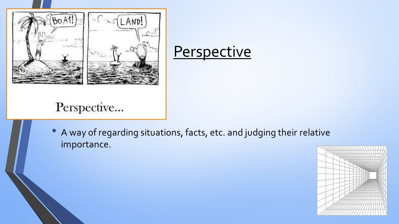 Perspective A way of regarding situations, facts, etc. and judging their relative importance.