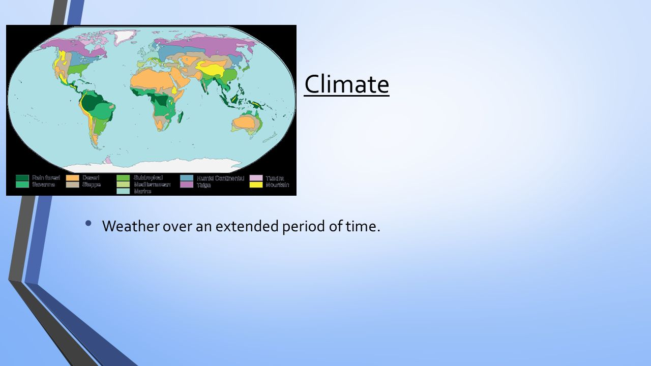Climate Weather over an extended period of time.