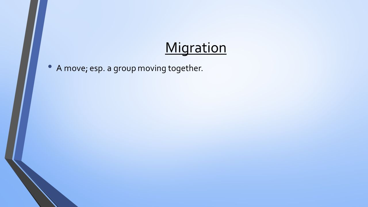 Migration A move; esp. a group moving together.