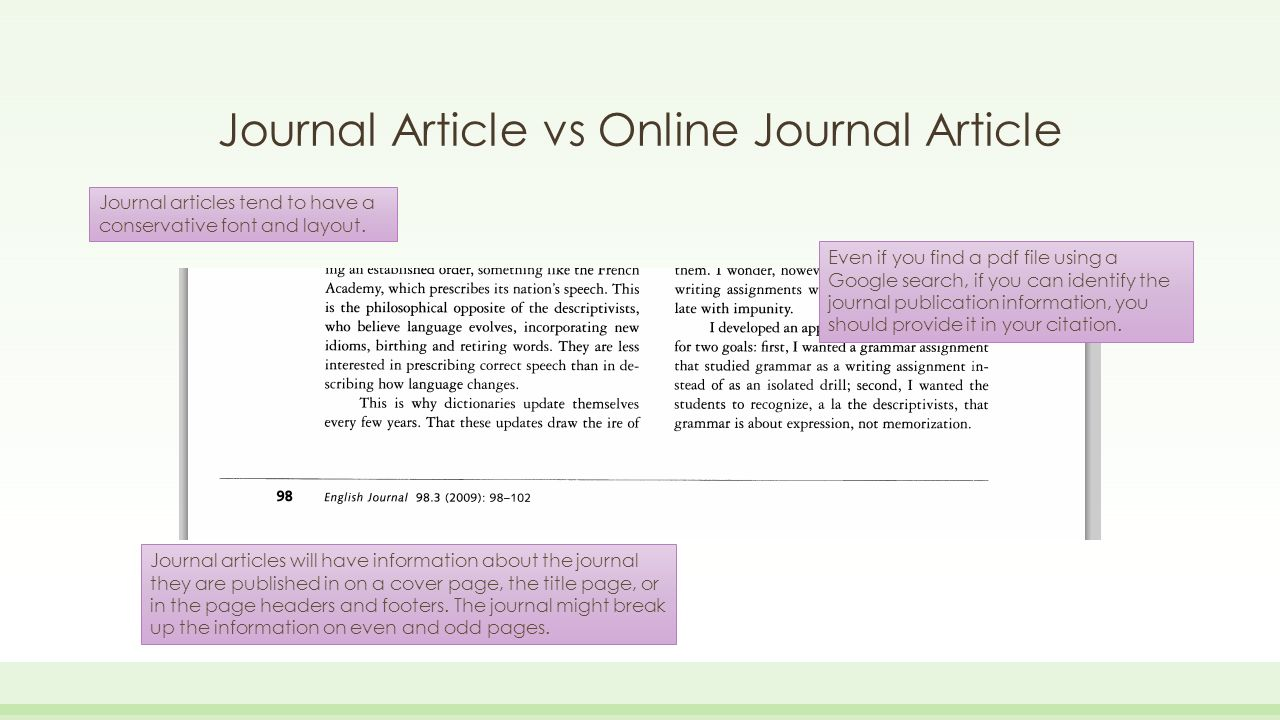 journal article 3 For a journal article, you should provide enough detail for the reader to be able to repeat your experiment, but be sure to include only the most important steps.
