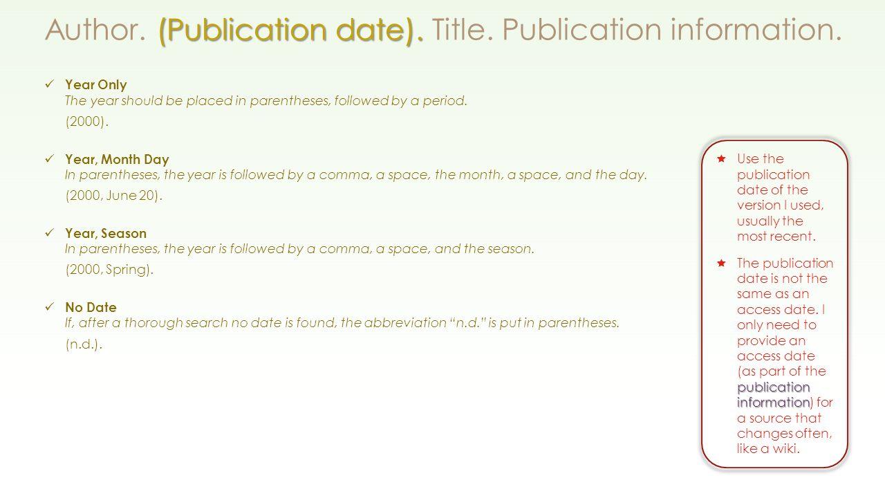 (publication Date) Author (publication Date) Title