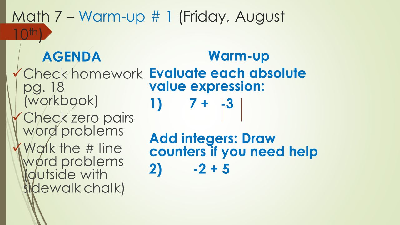 math 7 warm up 1 friday 10 th agenda check homework 1 math