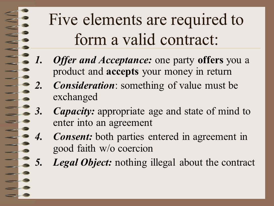 Contract Law Forming A Contract (The Elements) Validity Contract