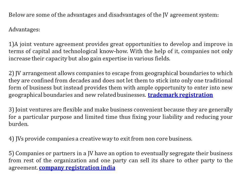 Pros and cons of joint ventures in india get a permanent 6 below are some of the advantages and disadvantages of the jv agreement system advantages 1a joint venture agreement provides great opportunities to platinumwayz