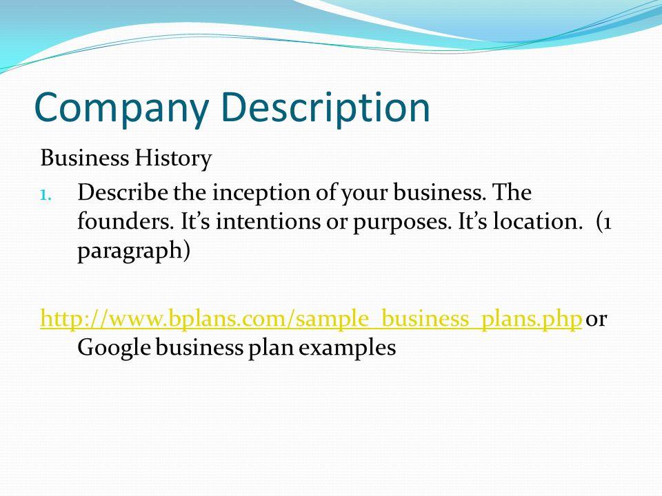 business plan business description sample