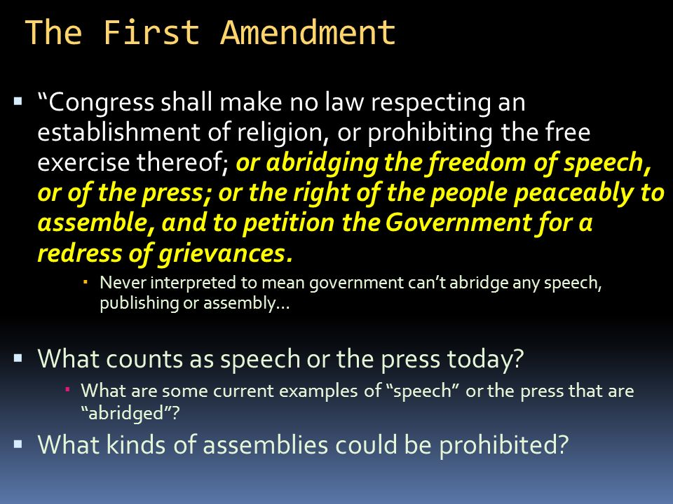 An Analysis Of Congress Shall Make No Law Abridging The Freedom Of