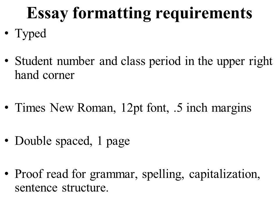 typed essay format