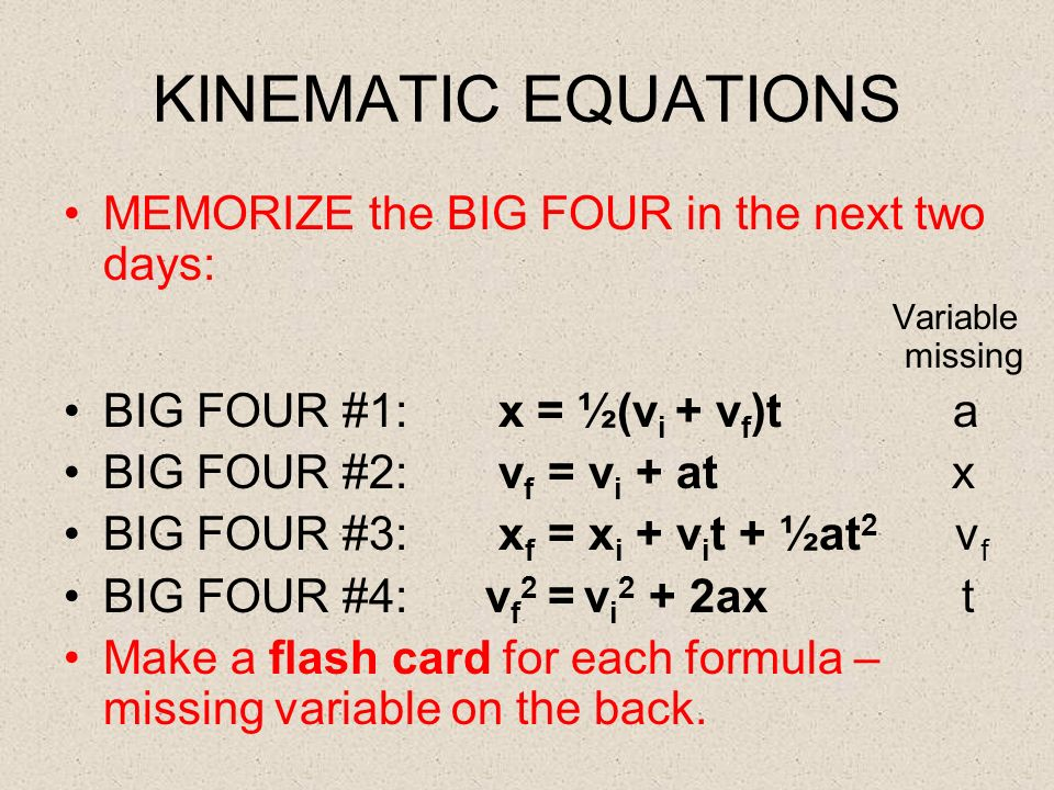 kinematic equations. 8 kinematic equations kinematic equations