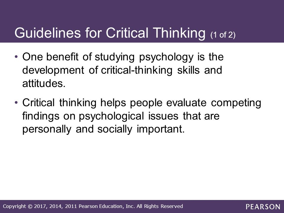 what does critical thinking mean in psychology A definition of a concept in terms of a concrete condition that can be measured validity the characteristics of an observation that allows one to draw accurate inferences about it.
