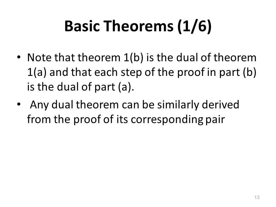 13 Basic Theorems (1/6) Note that theorem 1(b) is the dual of theorem 1(a) and that each step of the proof in part (b) is the dual of part (a).