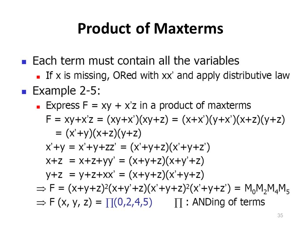 35 Product of Maxterms