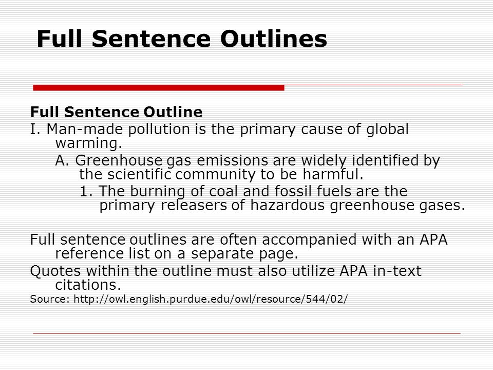 apa style outline