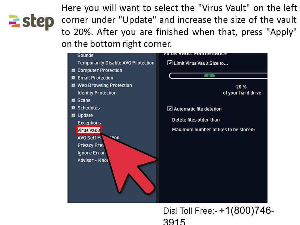 Here you will want to select the Virus Vault on the left corner under Update and increase the size of the vault to 20%.