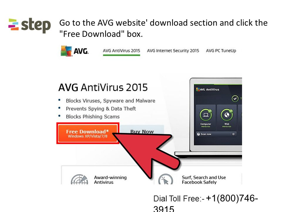 Go to the AVG website download section and click the Free Download box.