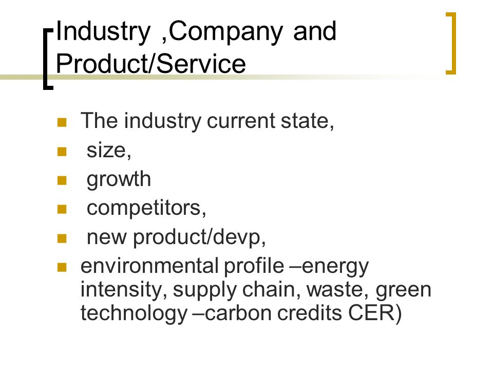 Contents of business plan