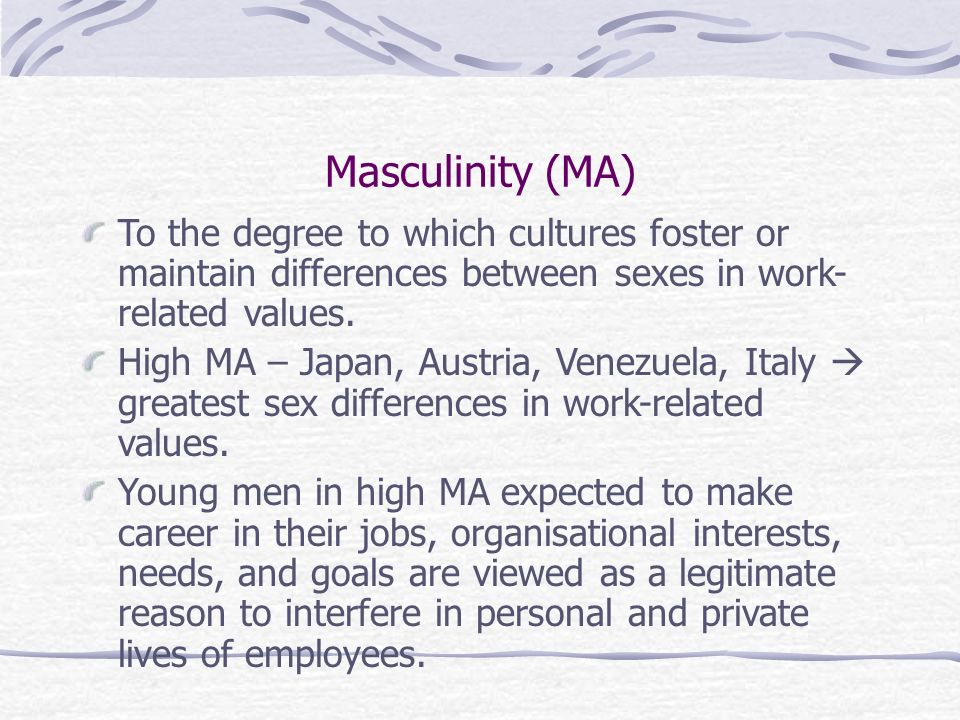 Masculinity (MA) To the degree to which cultures foster or maintain differences between sexes in work- related values.