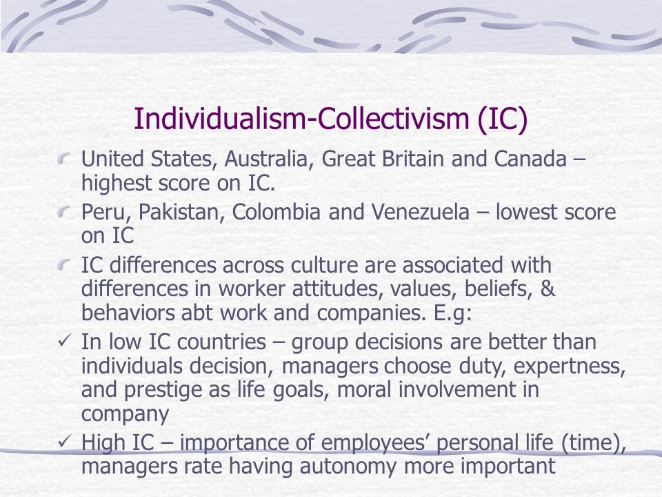 Individualism-Collectivism (IC) United States, Australia, Great Britain and Canada – highest score on IC.