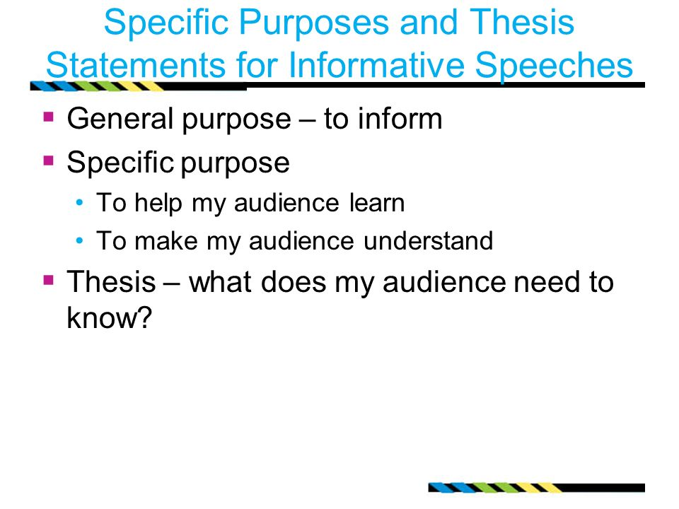 Thesis statement examples for informative speeches