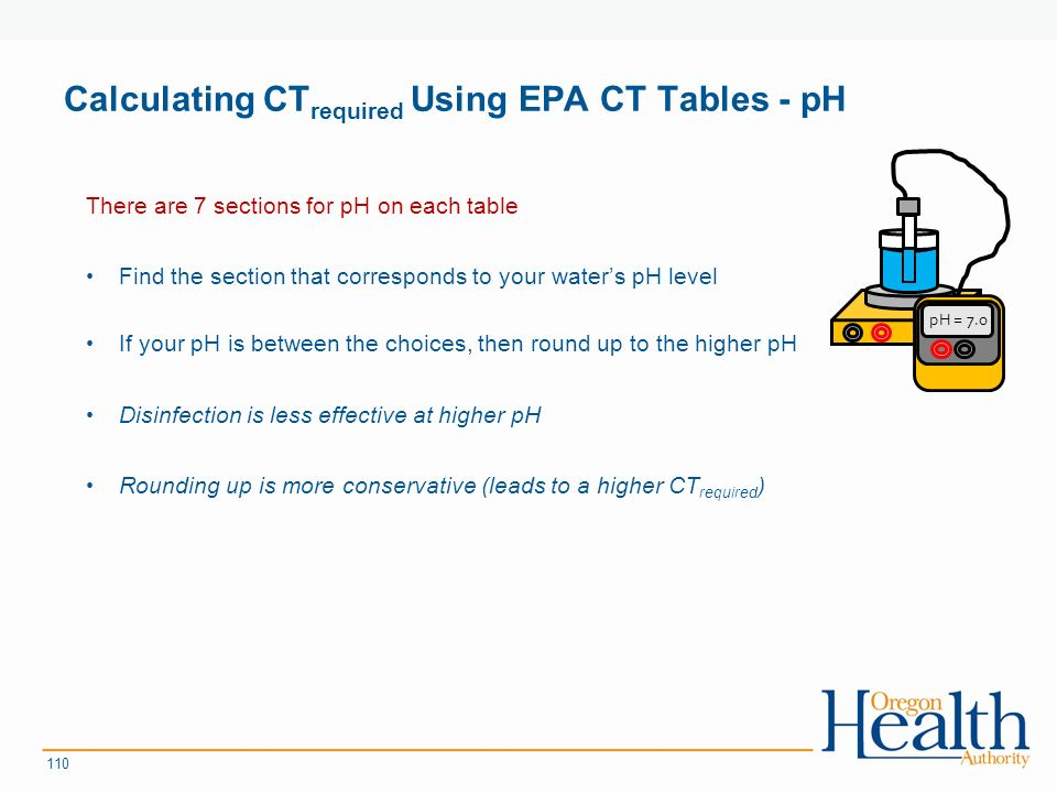 Calculating CT required Using EPA CT Tables - pH There are 7 sections for pH on each table Find the section that corresponds to your water's pH level If your pH is between the choices, then round up to the higher pH Disinfection is less effective at higher pH Rounding up is more conservative (leads to a higher CT required ) 110 pH = 7.0