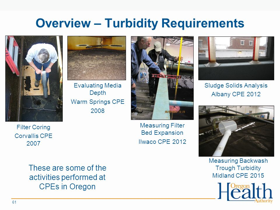 Overview – Turbidity Requirements Filter Coring Corvallis CPE Measuring Filter Bed Expansion Ilwaco CPE 2012 Evaluating Media Depth Warm Springs CPE 2008 Sludge Solids Analysis Albany CPE 2012 Measuring Backwash Trough Turbidity Midland CPE 2015 These are some of the activities performed at CPEs in Oregon
