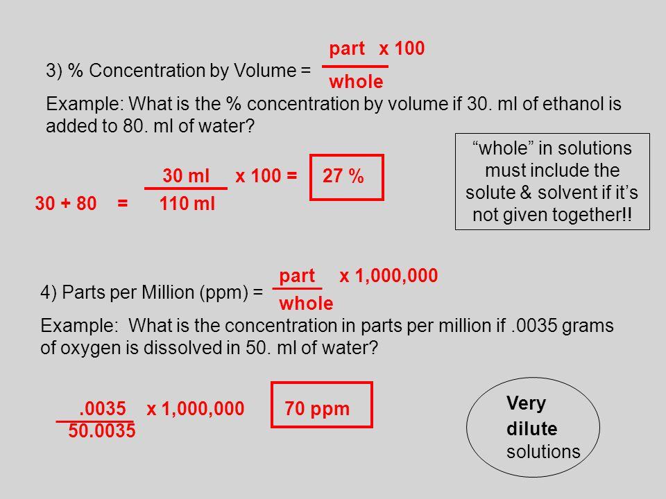 A homogeneous mixture Example Solution solute solvent – Parts Per Million Worksheet