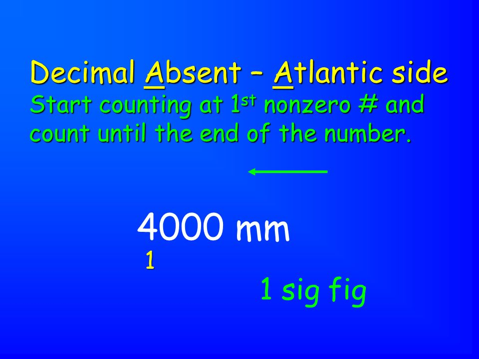 4000 mm Decimal Absent – Atlantic side Start counting at 1 st nonzero # and count until the end of the number.