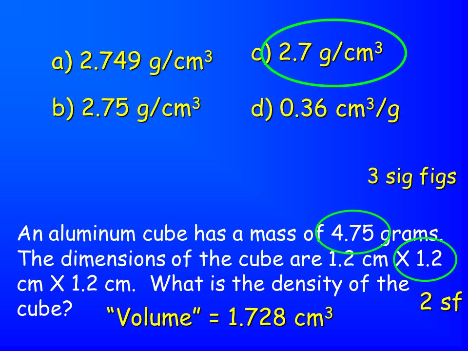 An aluminum cube has a mass of 4.75 grams. The dimensions of the cube are 1.2 cm X 1.2 cm X 1.2 cm.