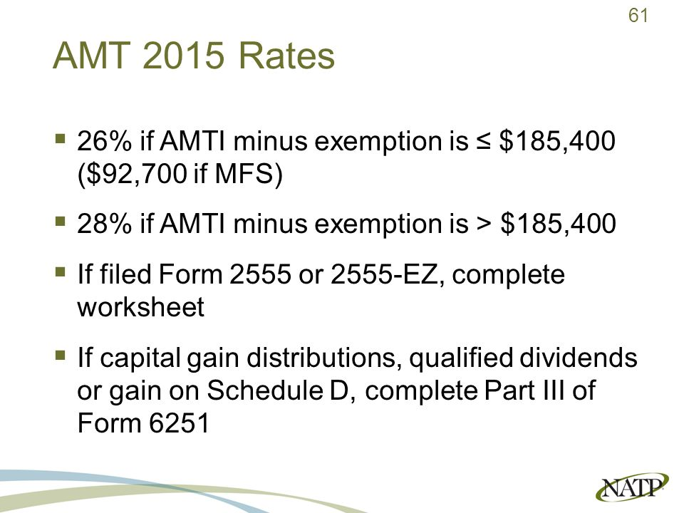 2015 Alternative Minimum Tax Presented by Jaimee Hammer EA ppt – Qualified Dividends Worksheet