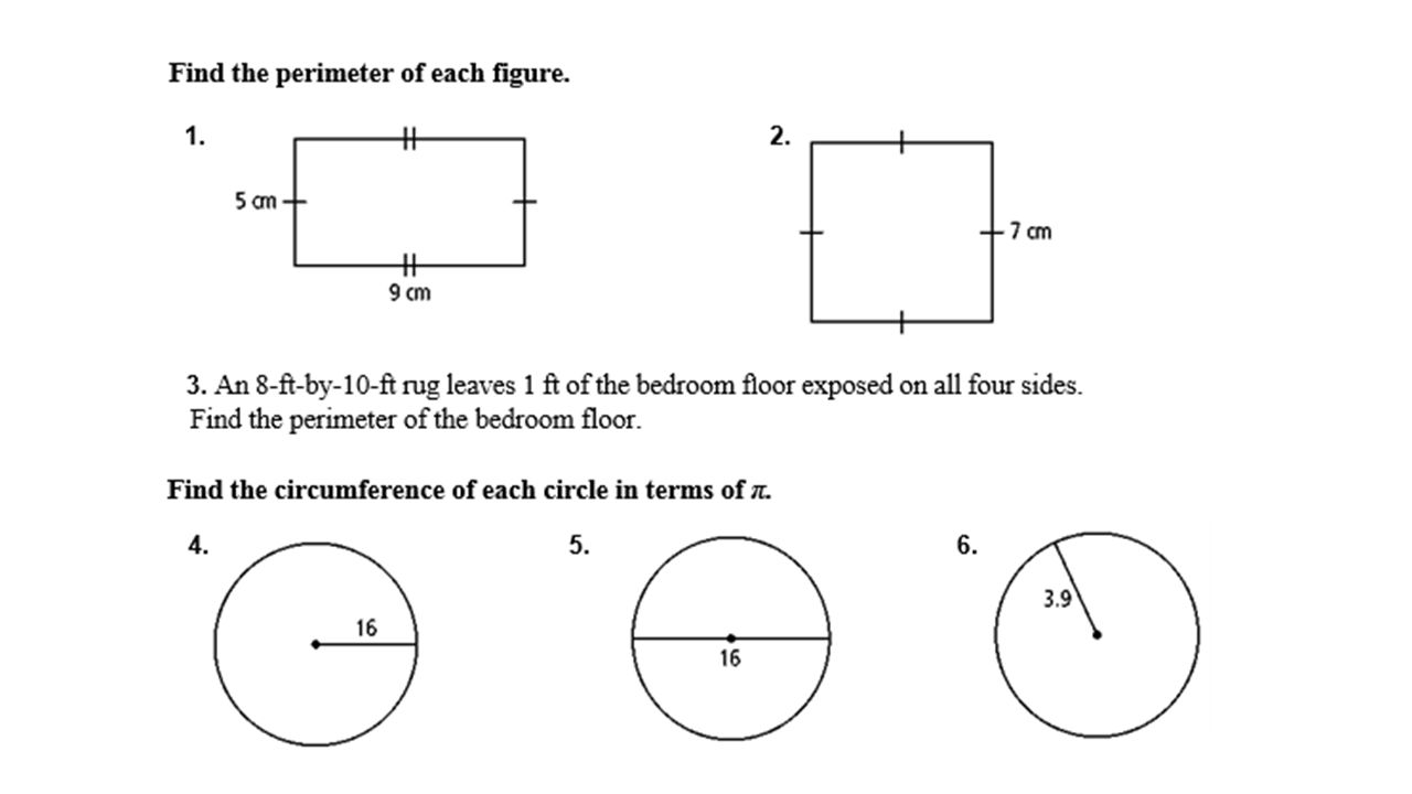 worksheet Perimeter Circumference And Area Worksheet geometry chapter perimeter circumference and area ppt download 14