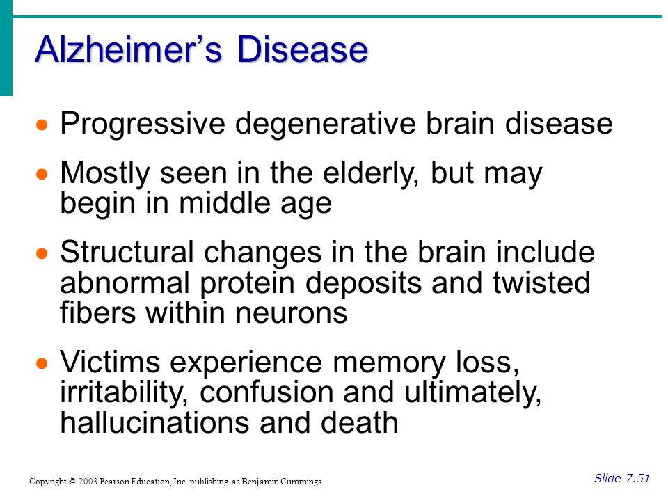 Alzheimer's Disease Slide 7.51 Copyright © 2003 Pearson Education, Inc.