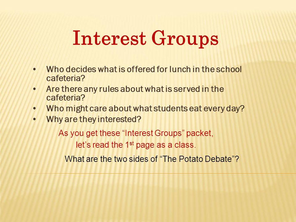 Interest Groups Icivics Answers The Potato Problem Social Media La
