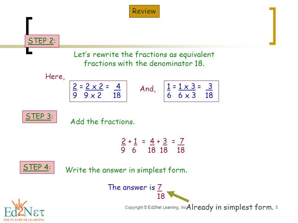 Copyright © Ed2Net Learning, Inc.1 Multiplying of Proper Fraction ...