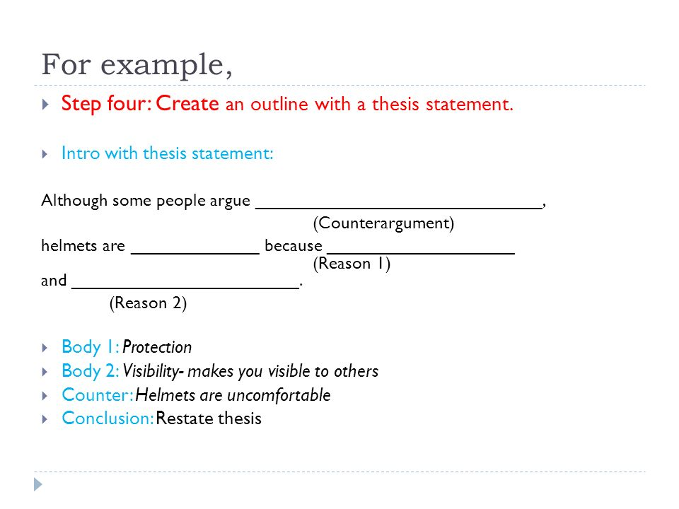 outline with a thesis statement Outline what is an outline an outline is meant to help you establish a structure for a paper you are going to write it is a way for you to demonstrate the main argument (thesis), main points (topic sentences), and main pieces of evidence you are going to present in a paper before actually writing the paper.
