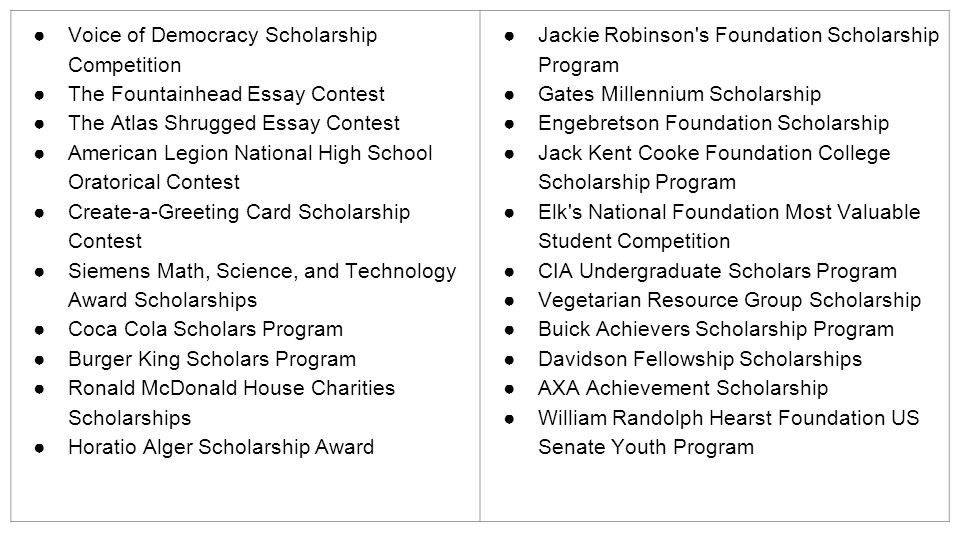 the hunt for scholarships the scholarship winner profile four  12 ○voice of democracy scholarship competition ○the fountainhead essay