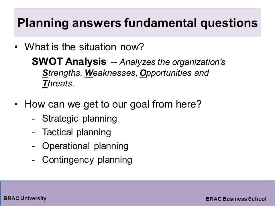 Planning answers fundamental questions 10 BRAC University BRAC Business School What is the situation now.