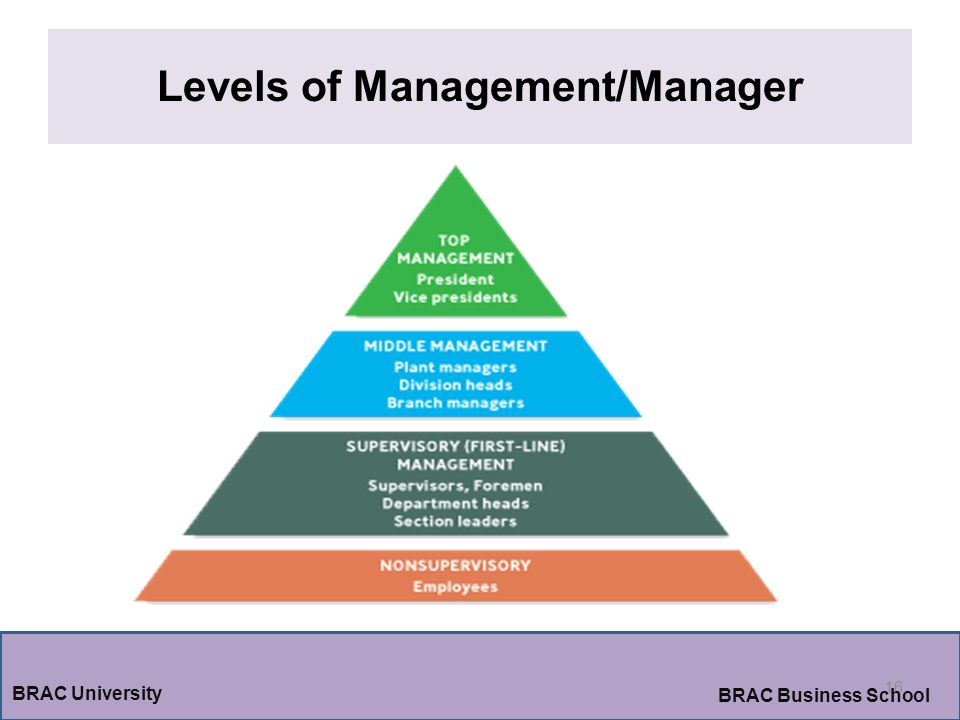 Levels of Management/Manager 16 BRAC University BRAC Business School
