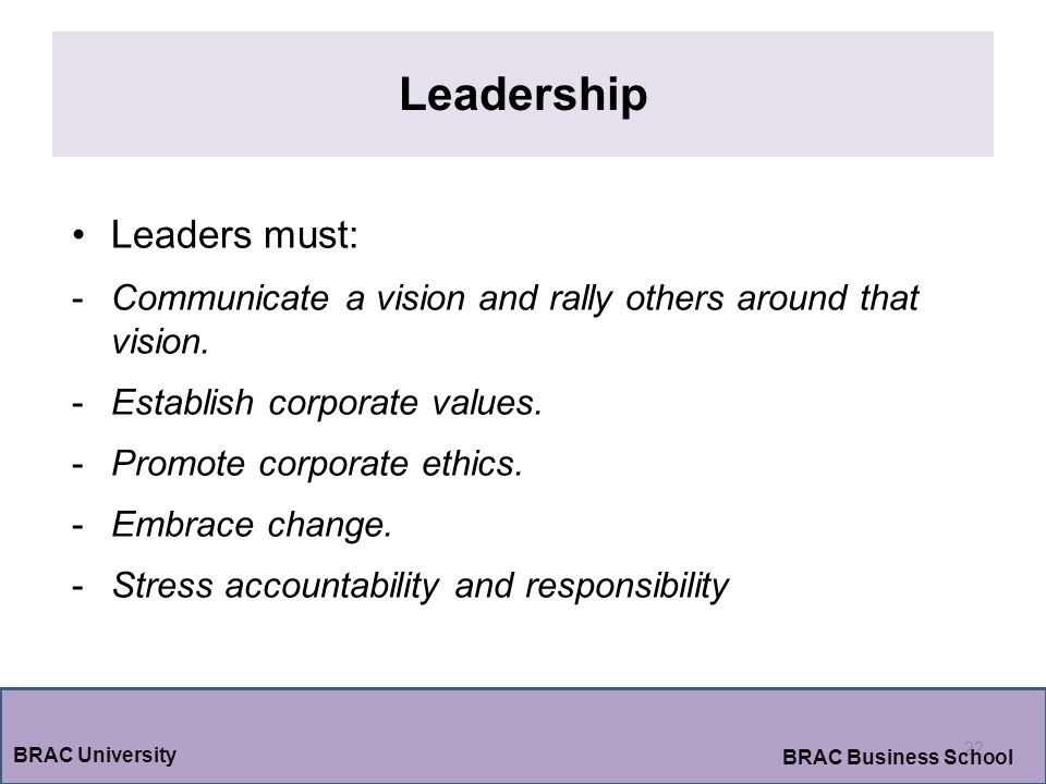Leadership 22 BRAC University BRAC Business School Leaders must: -Communicate a vision and rally others around that vision.