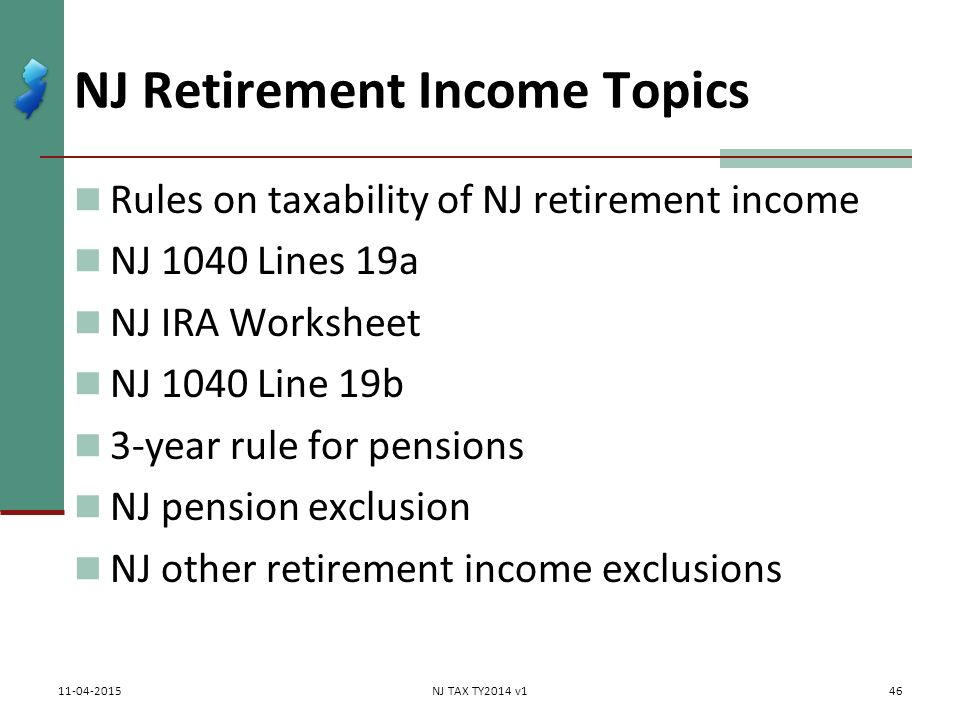 Worksheet Ira Information Worksheet retirement income pensionsannuities social securityrailroad nj topics rules on taxability of 1040 lines 19a nj