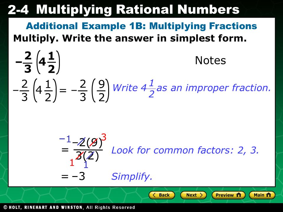 Evaluating Algebraic Expressions 2-4 Multiplying Rational Numbers ...