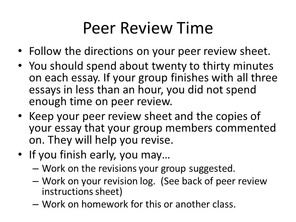 peer review questions for descriptive essay Literary analysis peer commentary questions before revising your literary analysis, reflect on your essay now that you've had some distance from it.