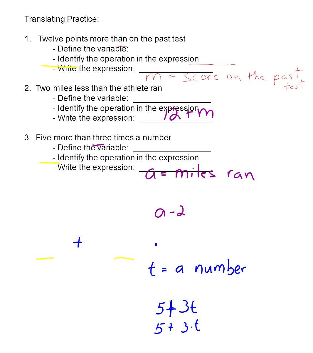 worksheet Translating Expressions 1 3 variables and expressions objectives evaluate 5 translating
